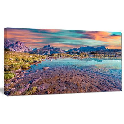 """DesignArt 'Beautiful Lake in Lago Rienza' Photographic Print on Wrapped Canvas Size: 16"""" H x 32"""" W x 1"""" D"""