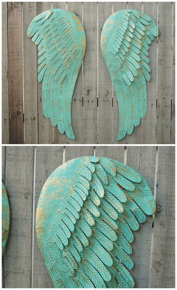 Wand-Dekor, Shabby Chic, Aqua, große Engel Flügel, Gold, Metall - die einzigartige anziehungskraft der modernen kunstskulptur