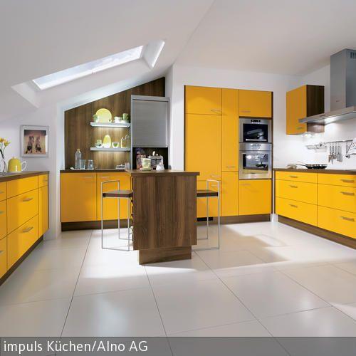 Küche mit gelber Front Pinterest