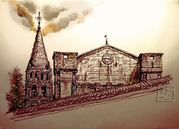 From aside: the Abbey of Bassac, France. Mixed media. Giclee. 158.