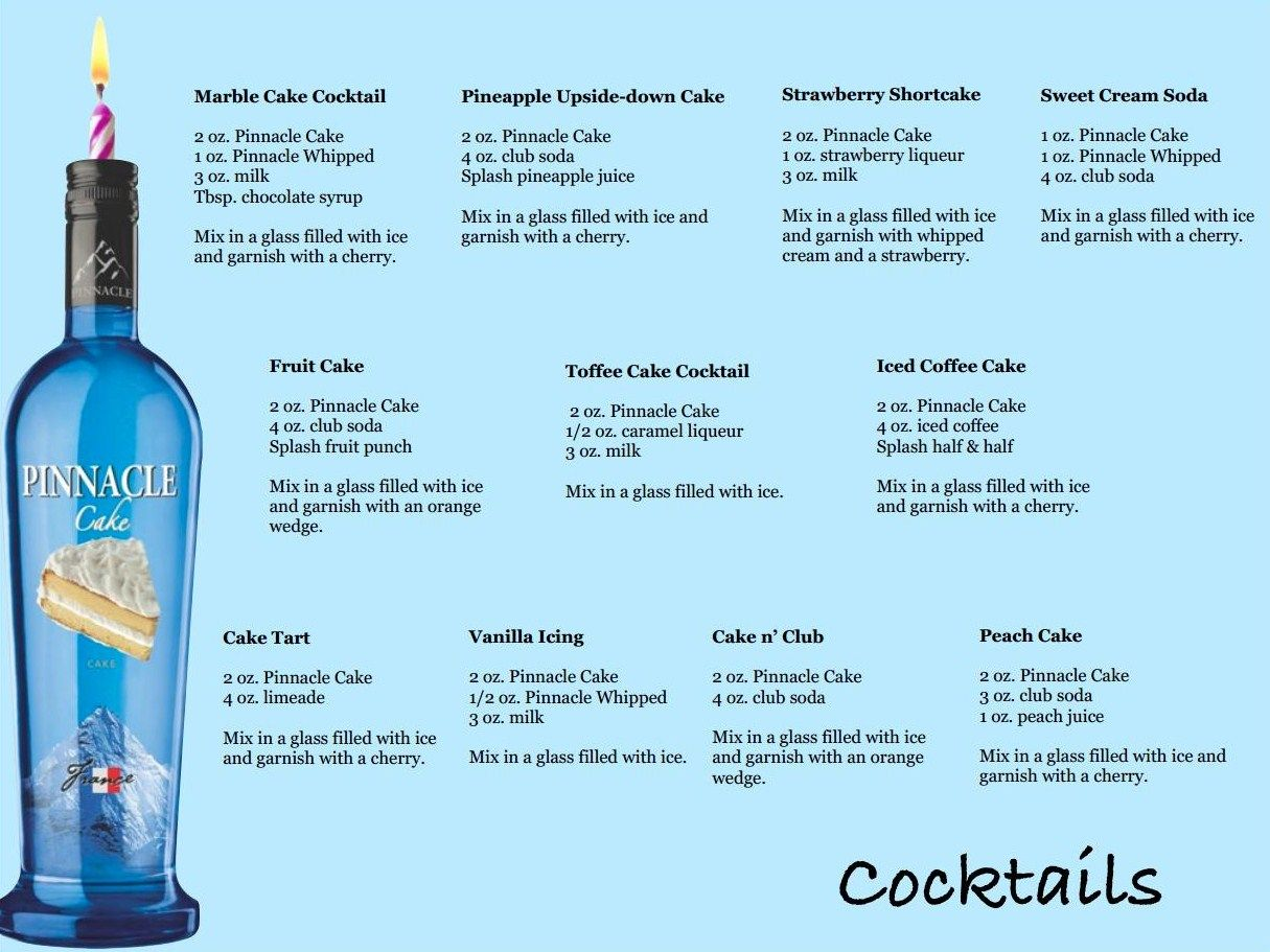 Pinnacle Cake Cocktail Recipes page one Drinks Pinterest