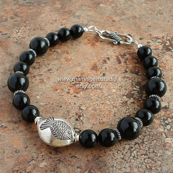 Black Onyx Mens Bracelet Mens Onyx Jewelry Thai Hill Tribe Silver