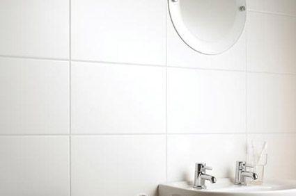 matt white tiles - a bit bigger than I\'d like, but they\'re light ...