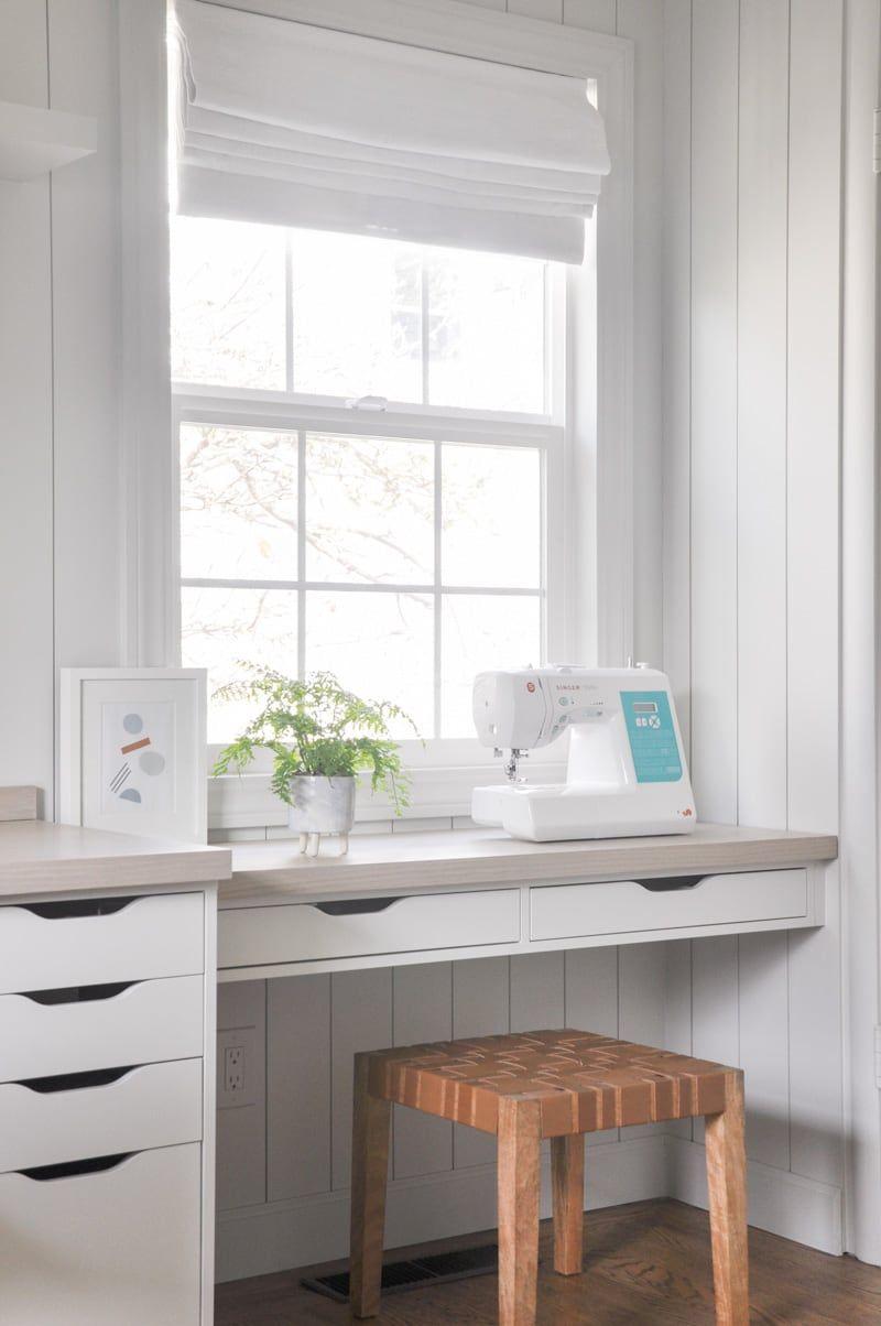 DIY home office builtin with ikea ekby alex shelf with