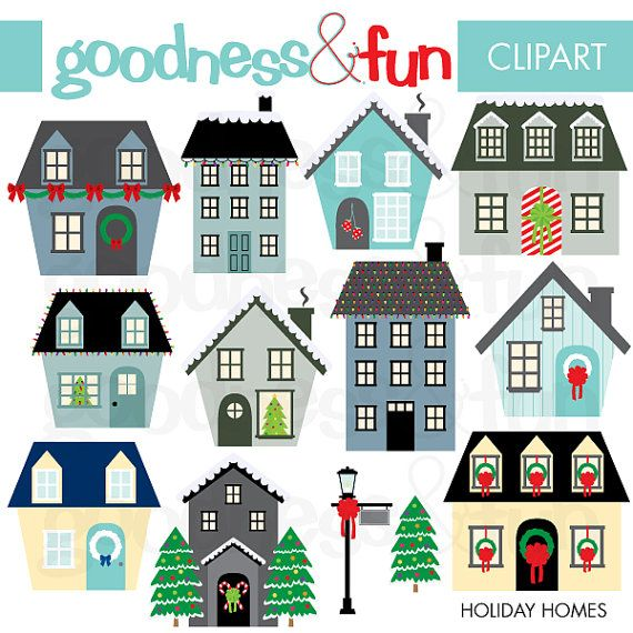 Buy 2, Get 1 FREE - Holiday Homes Clipart - Digital Winter ...