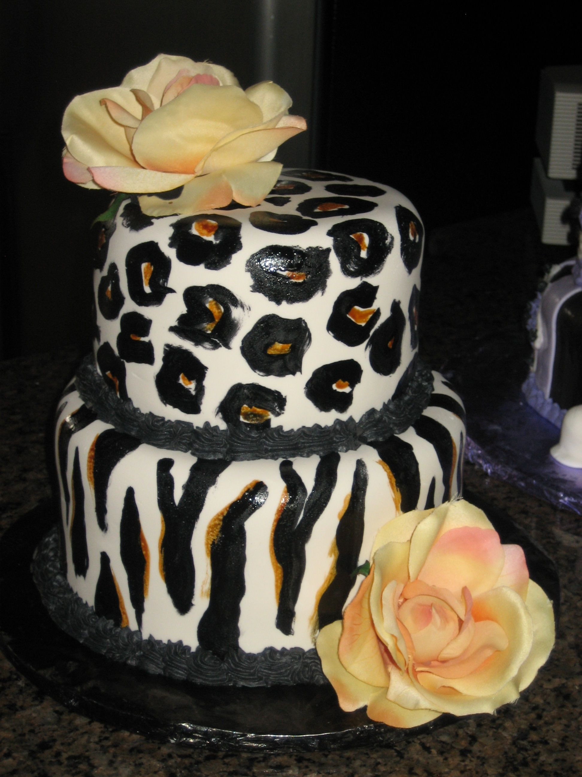 Painted zebra/leopard cake