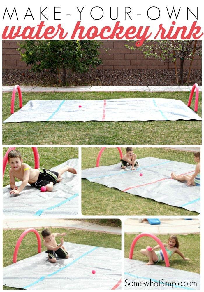 Knee Hockey Water Rink Fun Outdoor Activity By Somewhat Simple Fun Outdoor Activities Outdoor Fun Outdoor Kids