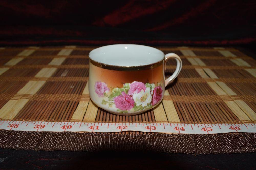 "Procelain Tea/Coffee Cup #297 Gold Trim Rose Design 3 7/8""x2 1/8"" #Unknown"