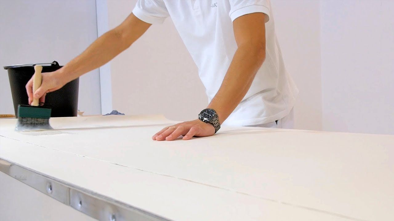 How To Hang Wallpaper With Paper Backing Pasting The Wallpaper Youtube How To Hang Wallpaper Wallpaper Hanging