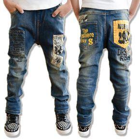 Encontrar Más Pantalones vaqueros Información acerca de 2016 nuevos niños  ocasionales de los pantalones vaqueros niños pantalones carta de impresión  ...