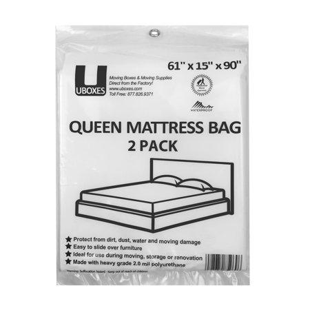 Uboxes 2 Mil Queen Mattress Bag 61 X 15 X 104 2 Pack Walmart Com Full Mattress Queen Mattress Moving And Storage