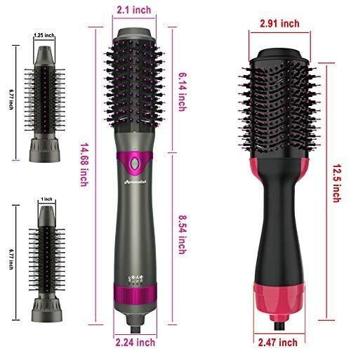 Photo of Hair Dryer Brush, Hot Air Brush, Interchangeable Hair Dryer & Volumizer, Straighterner And Salon Styler with Three Brush Heads ( Upgraded)