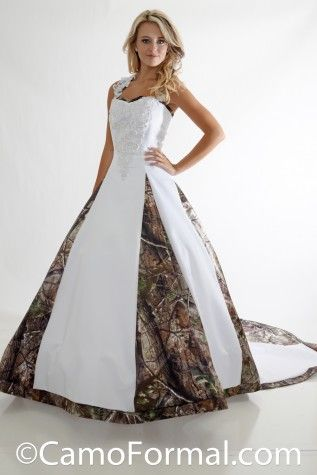 Very full aline wedding gown with cathedral train accented for Camo accented wedding dresses