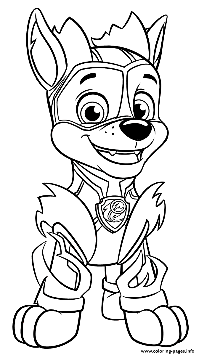 Mighty Pups Colouring In Pages Background