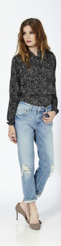 Camisa de georgette estampado con flecos frontales semitransparente