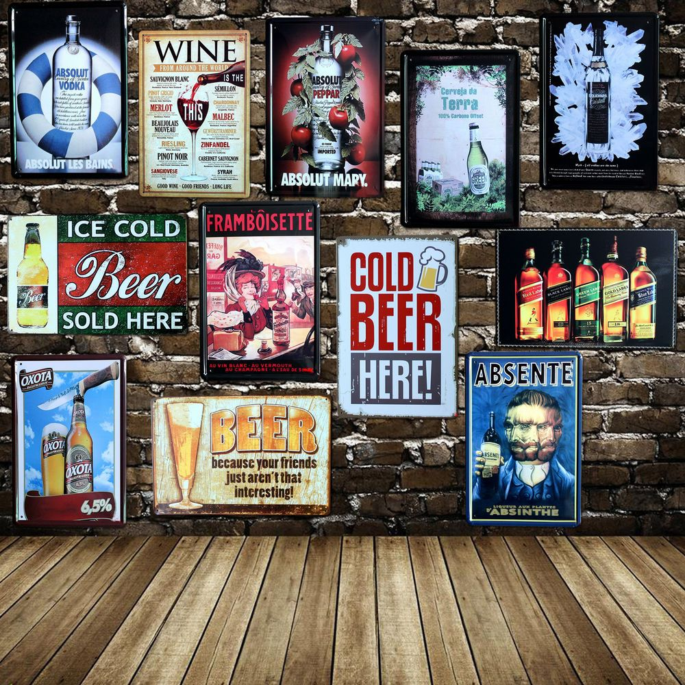 Vintage Garage Ideas: Man Cave Tavern Vintage Tin Sign Bar Pub Home Wall Decor