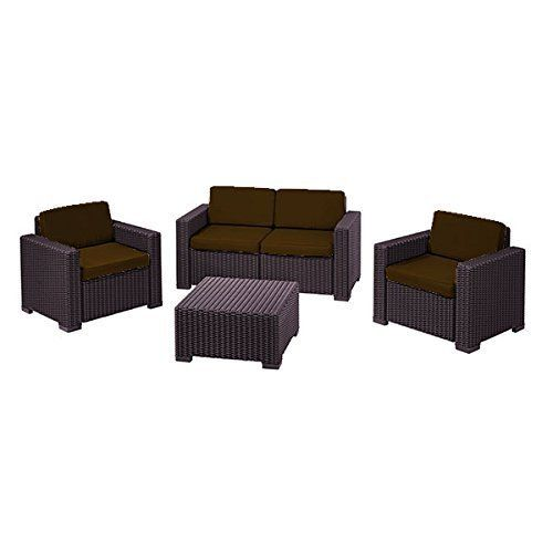 Brown Replacement 8 Piece Seat Cushions Set For Keter Allibert California Outdoor  Patio Set