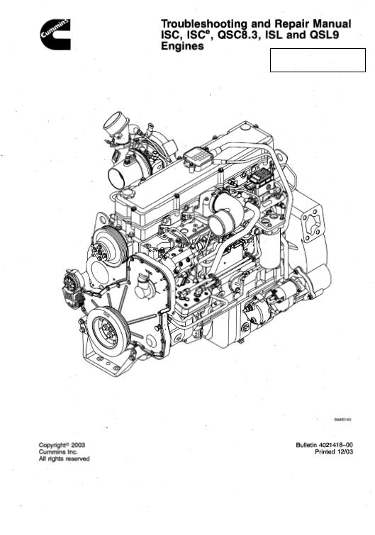 Cummins Isc Qsc8 3 Isl And Qsl9 Engines Shop Service Manual Cummins Engineering Manual