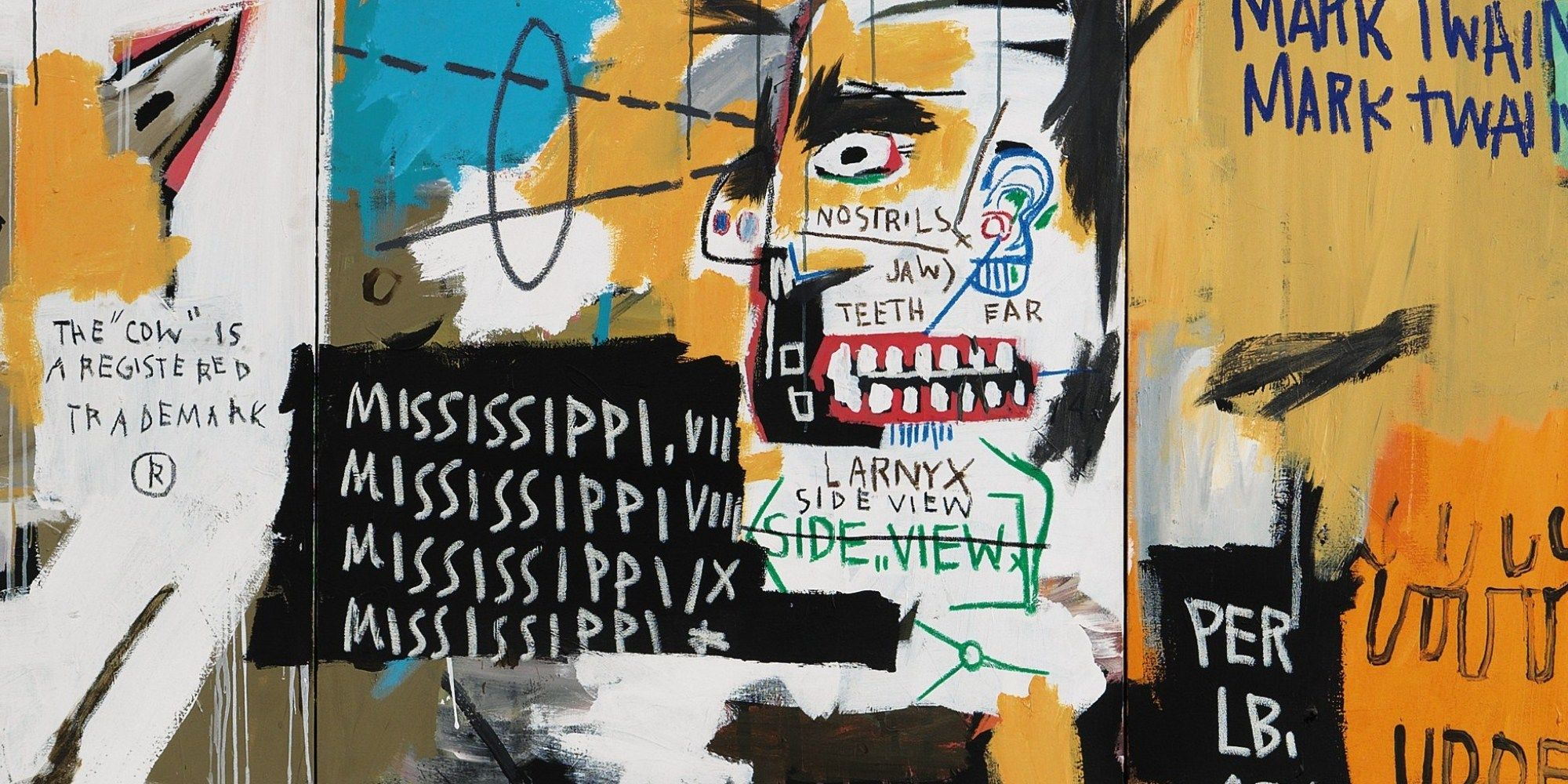 """Gaze upon Jean-Michel Basquiat's """"Undiscovered Genius Of The Mississippi Delta,"""" and your eyes are forced to dart from one ambiguous scribble to the next..."""