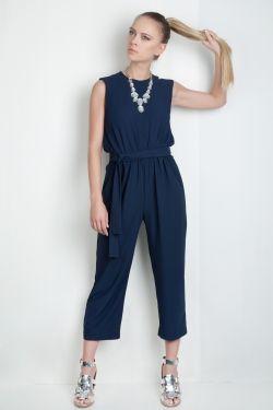 e15fb2869ec9e Navy Blue Paneled Jumpsuit - Fashionnoiz