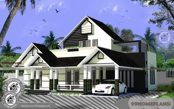 Home Design 1 Floor With Slopping Roof Simple Low Cost Collections Free Contemporary House Plans Indian House Plans Indian Home Design
