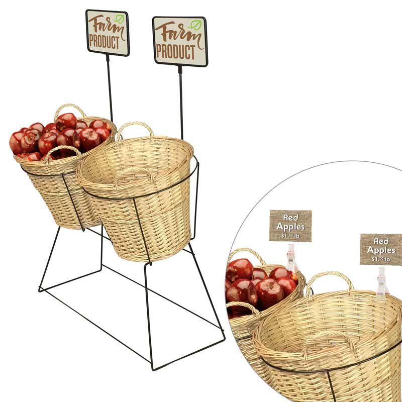 Wicker Basket Produce Display Ideas Retail Display Basket Stands