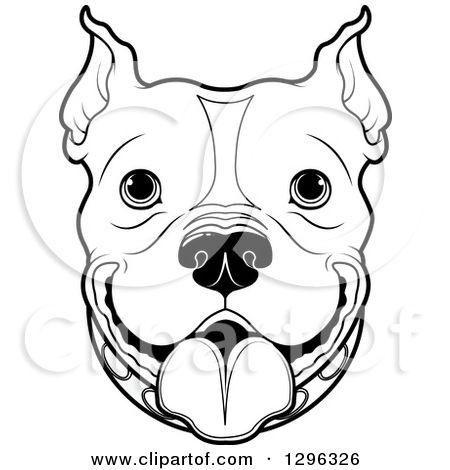 1296326 Clipart Of A Black And White Happy Pitbull Dog Face Royalty Free Vector Illustration Jpg 450 470 Dog Face Drawing Dog Stencil Dog Paintings