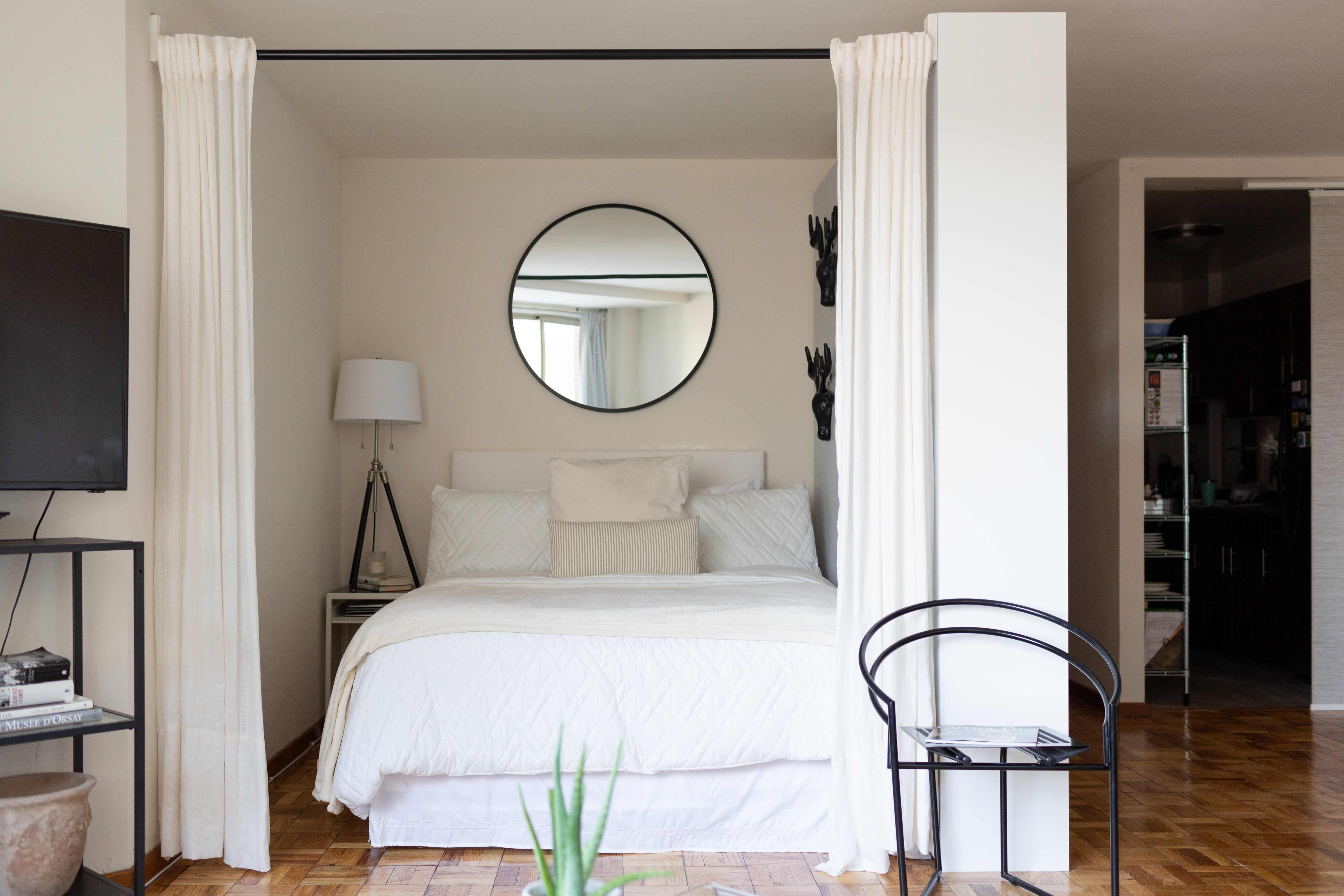 Photo of This Small Studio Apartment Has an Easy, Elegant Divider Solution