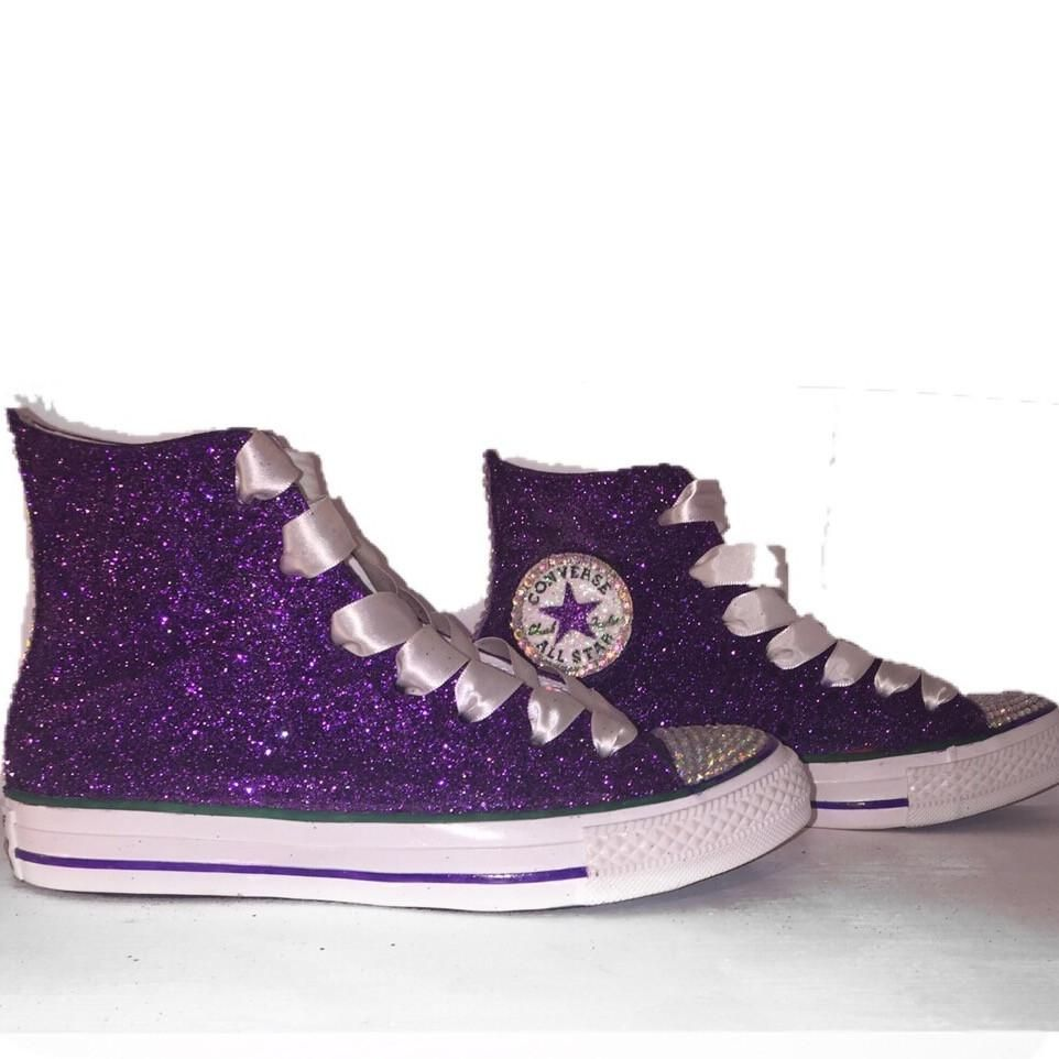 Womens Sparkly Purple Glitter Converse All Stars High Top Wedding Bride Prom  Shoes 5d0f23498