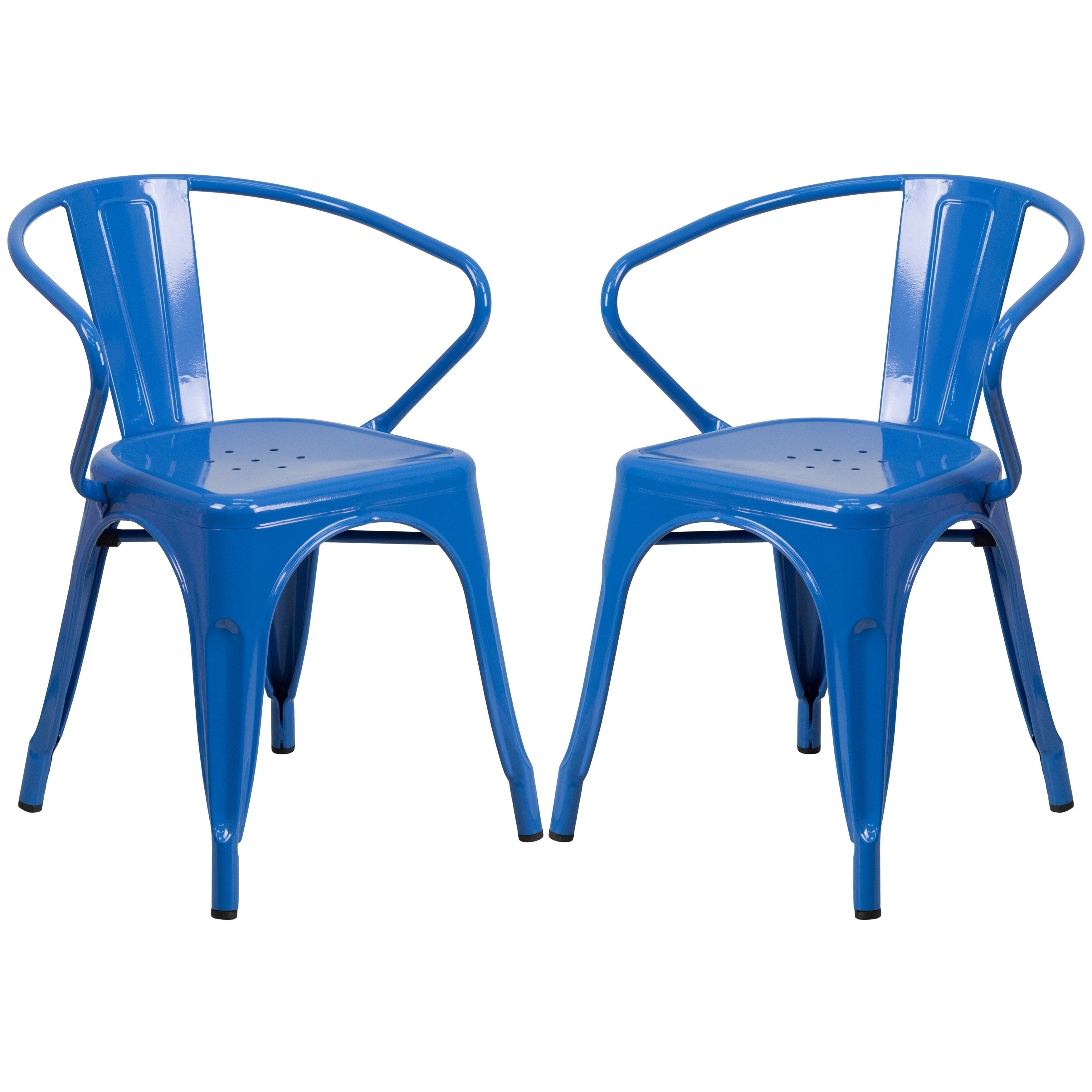 Blue Galvanized Metal Integrated Arm Chairs (