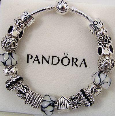 1b1c87527 Authentic Pandora Bracelet Bangle or Clasp Sterling Silver Black White Tone