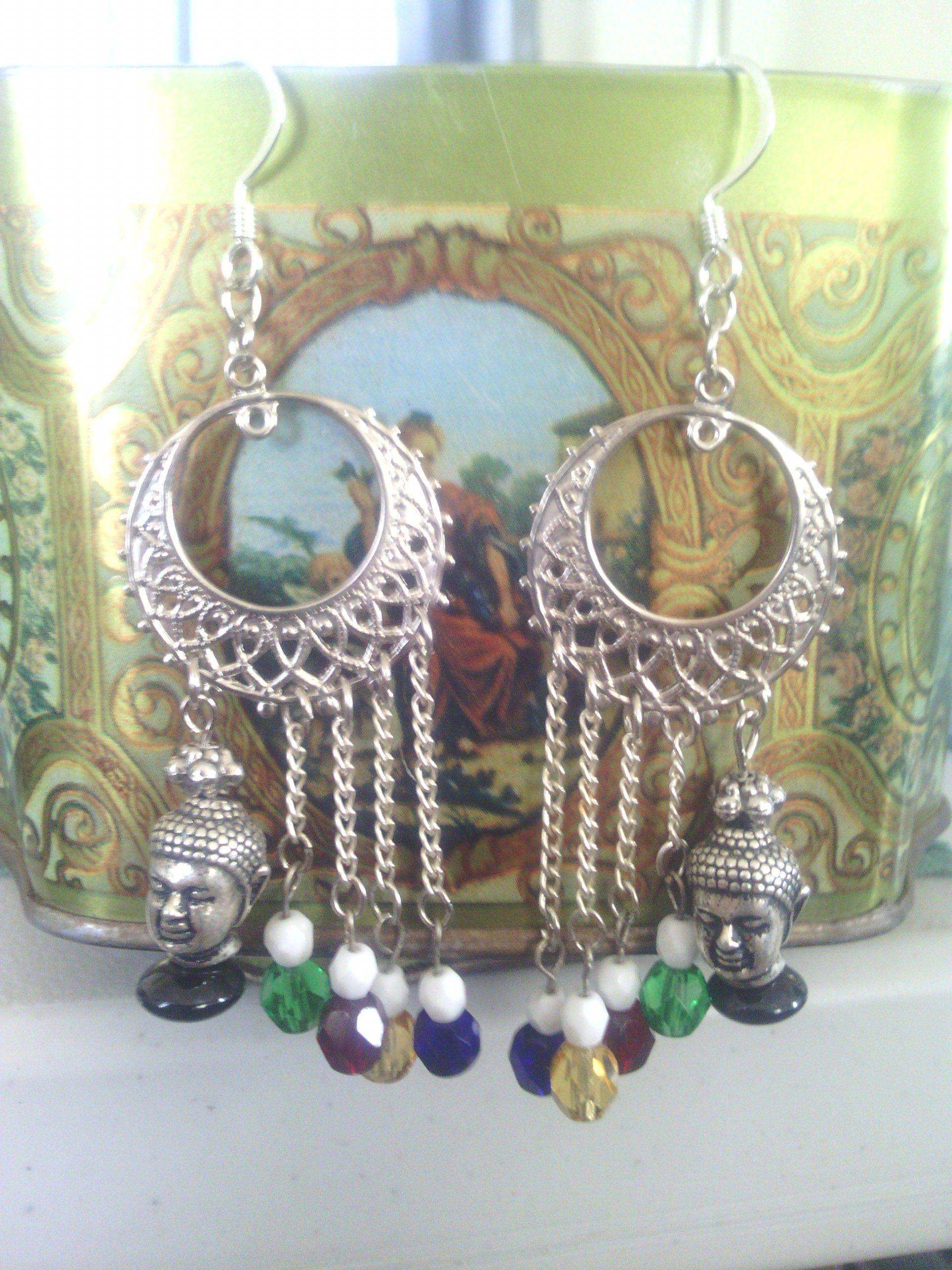 *SOLD*  Buddhist prayer flags dangle earrings  by: Madeline Groves