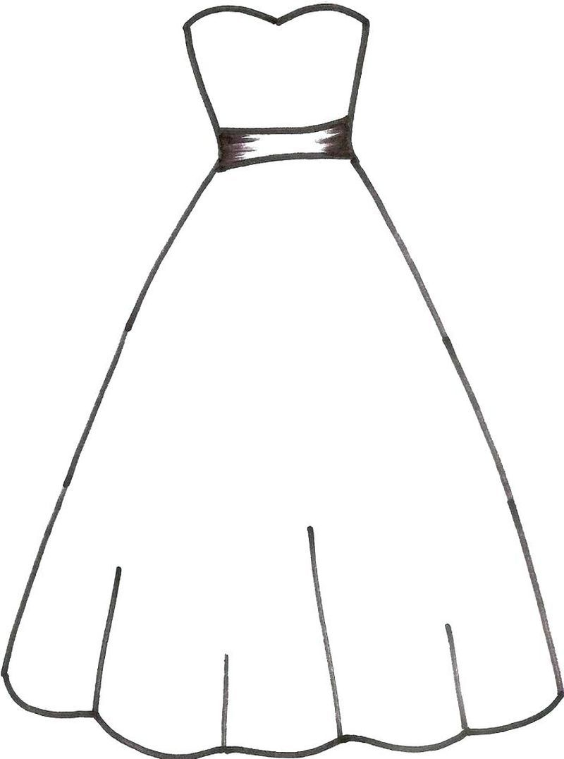 Ball Gown coloring page | Free Printable Coloring Pages | 1076x800
