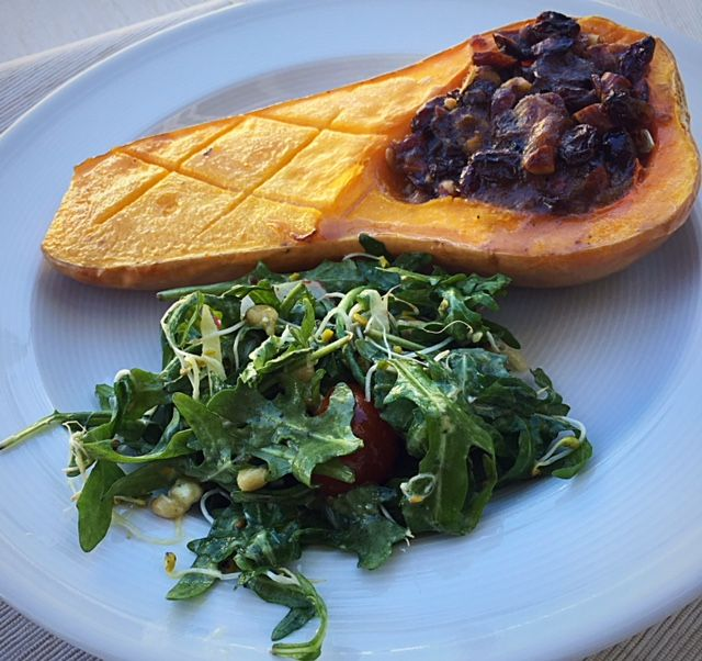Try out this vegan sweet and savory stuffed butternut squash recipe for dinner tonight. It's also grain-free, dairy-free, and gluten-free.