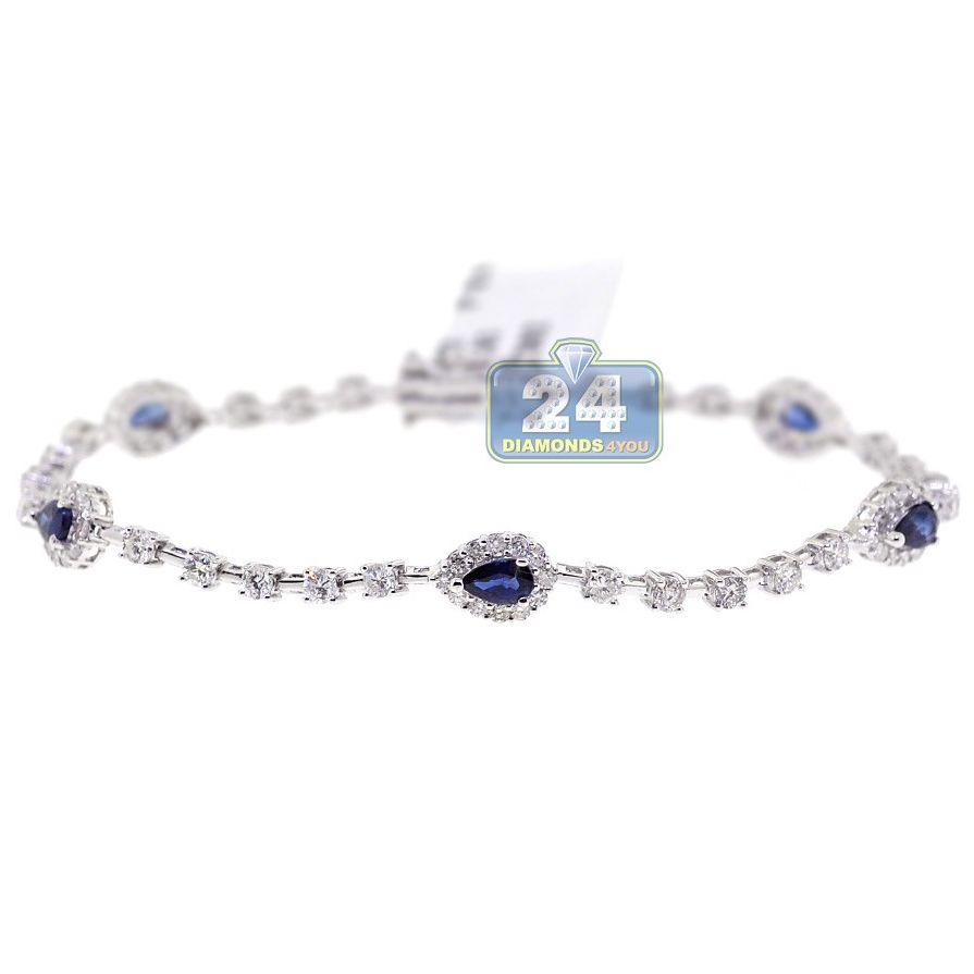 Womens Diamond Sapphire Tennis Bracelet 18k White Gold 3 83 Ct 18k White Gold Womens Bracelets Sapphire Color