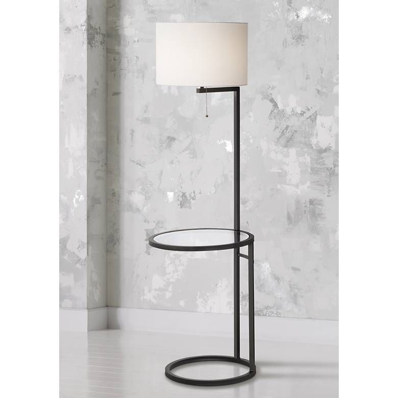 Space Saver Glass Tray Table Floor Lamp M4067 Lamps Plus Floor Lamp Table Floor Lamp Lamp