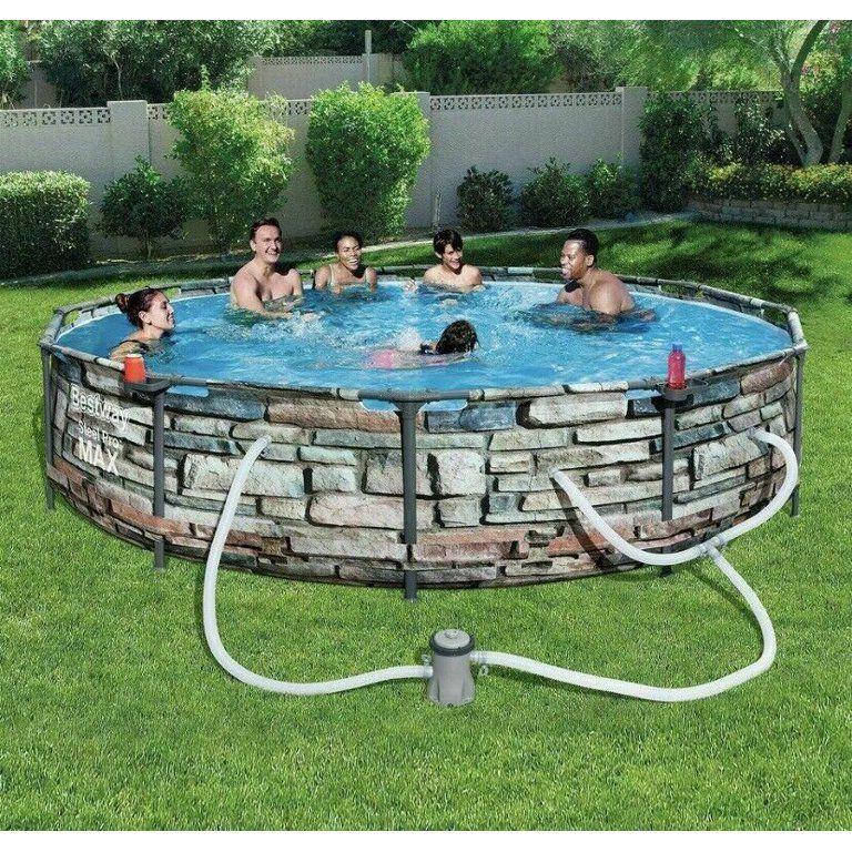 Bestway 12 X 30 Steel Pro Max Round Pool Set Stone Print Walmart Com Above Ground Swimming Pools Swimming Pools Swimming Pool Kits