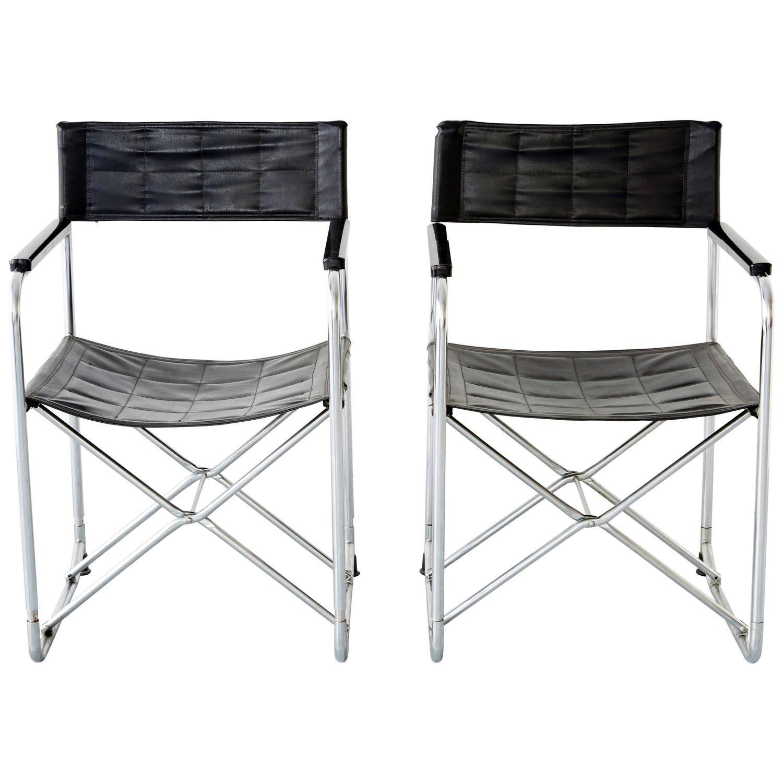 Pair of Japanese Uchida Midcentury Folding Chairs