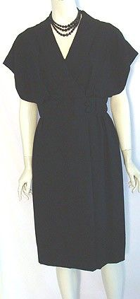 Vintage 1950s Black Crepe Dress $99