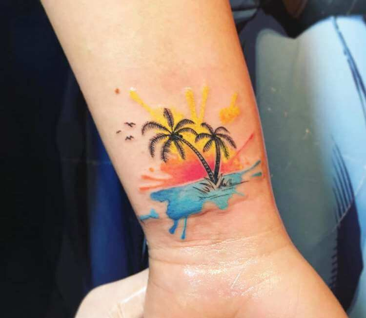 Palm Tree Tattoo By Alexis Vargas Palm Tree Tattoo Ankle Tree