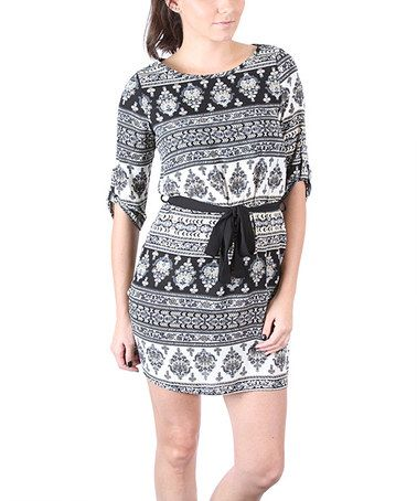 Look at this #zulilyfind! Gray & Ivory Damask Roll-Tab Dress by Collective Rack #zulilyfinds