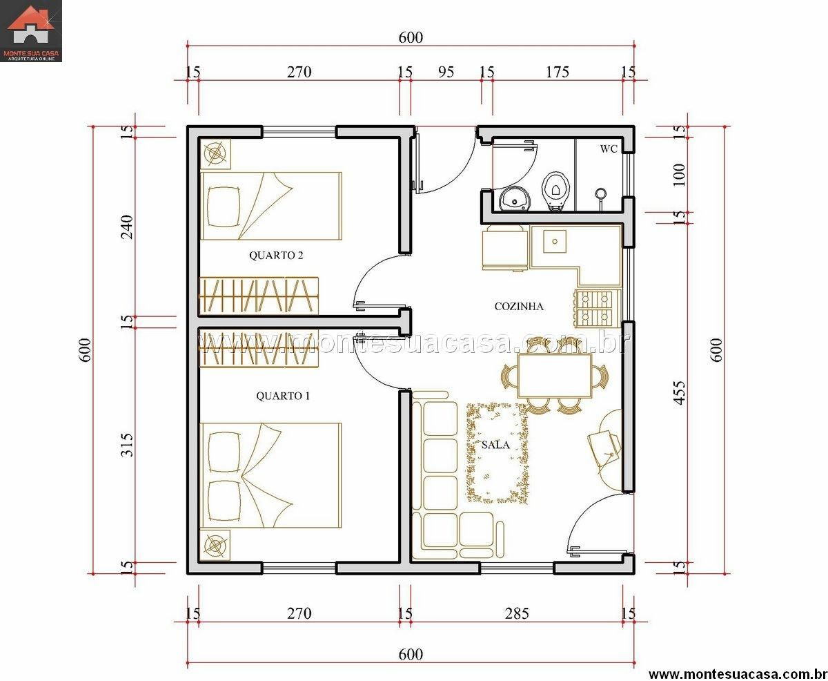 Preferência plano de casa con medidas 36m2 2 dormitorios | planos de casas  TP19