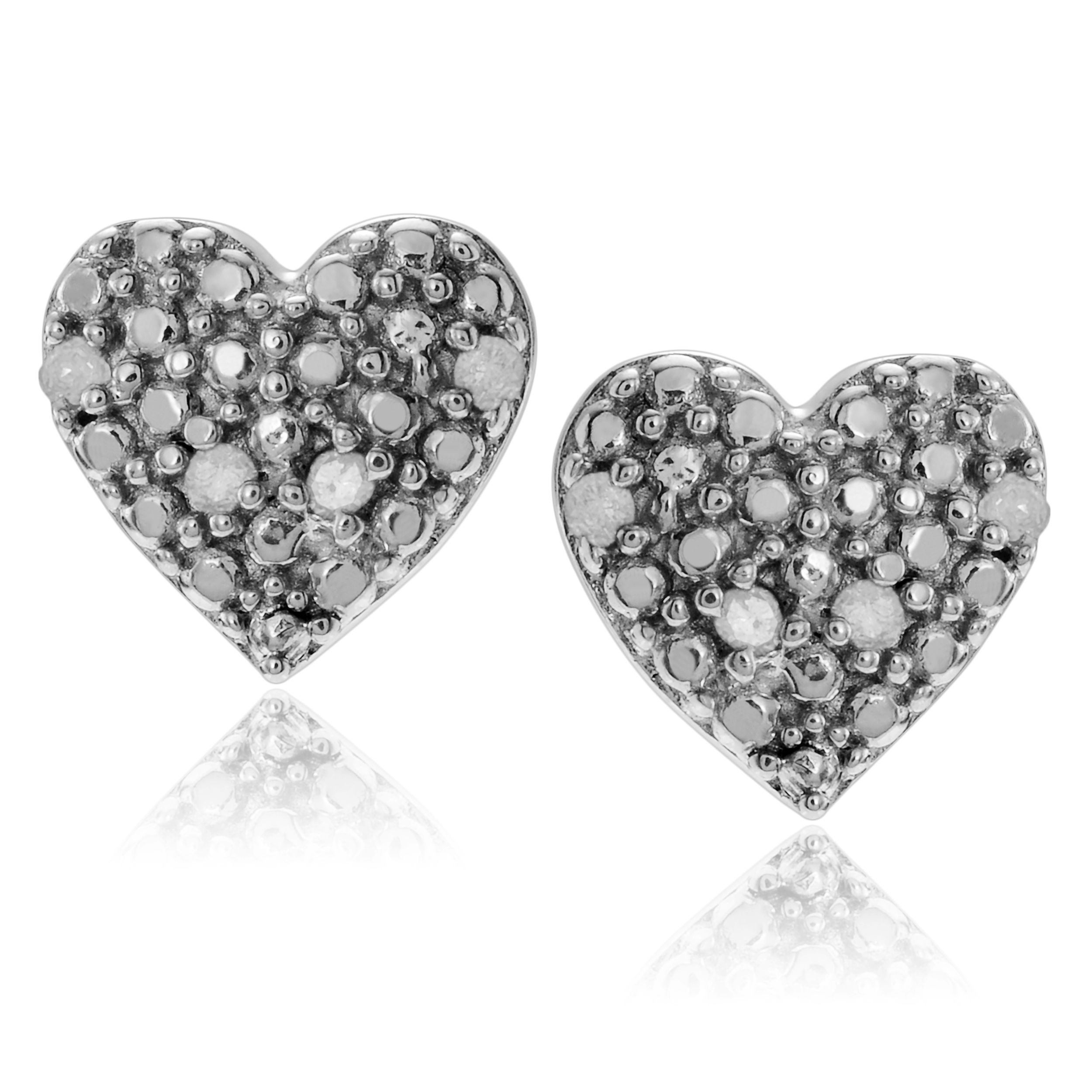 Journee Collection Sterling Silver 1 10 ct Diamond Heart Stud