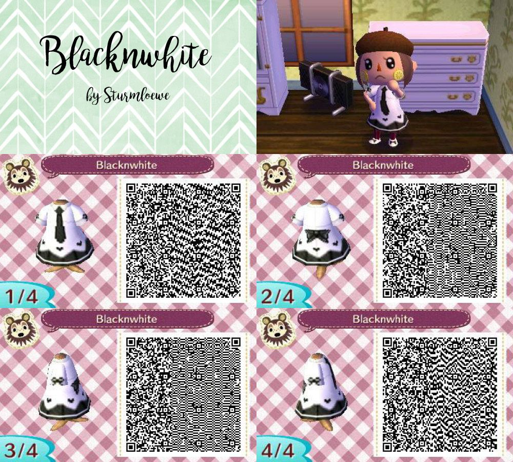 Bien-aimé animal crossing new leaf qr code cute black and white dress outfit  IQ12