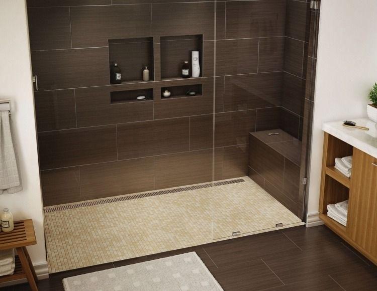 Dusche Sitzbank Gemauert :  Dusche  Dunkelbraun Mosaikfliesen Bodenbelag Beige Sitzbank Gemauert