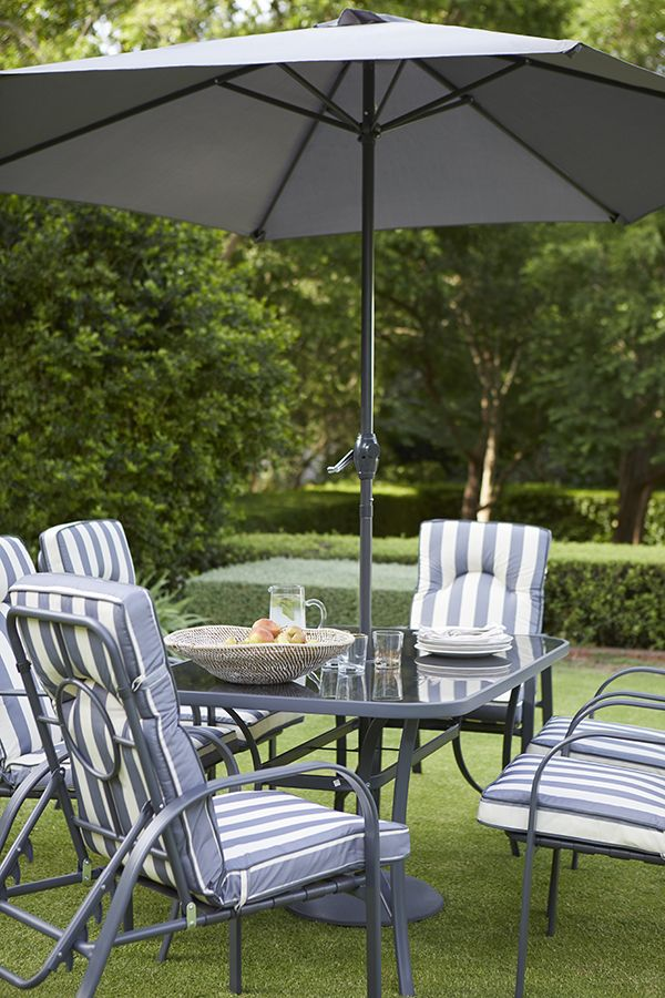 Crofton 6 Seater Padded Dining And Garden Furniture Set