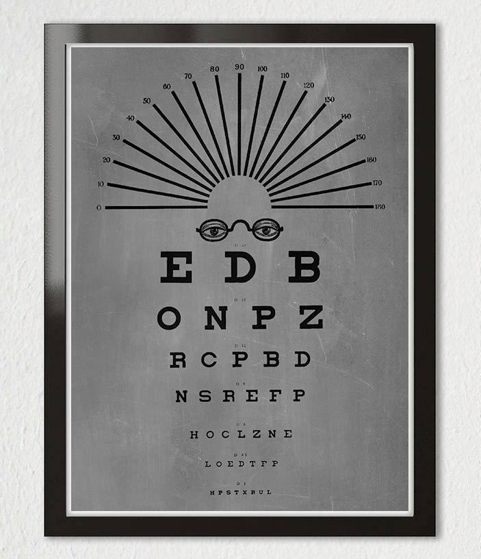 VINTAGE EYE CHART OPTICAL GLASSES Typography Black GRAY