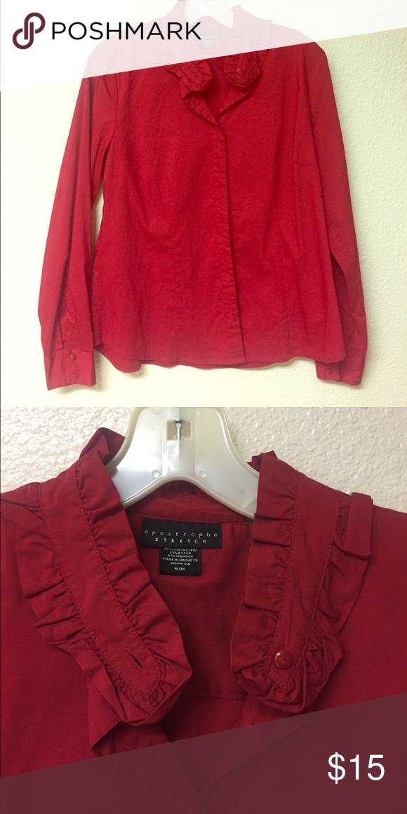 Red Dressy Blouse Excellent Condition Apostrophe Tops Button Down