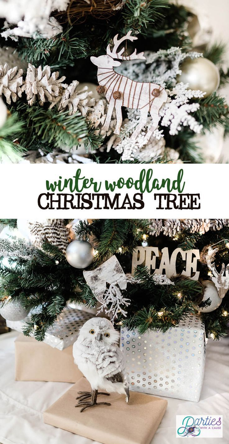 Try a rustic winter woodland Christmas tree theme this