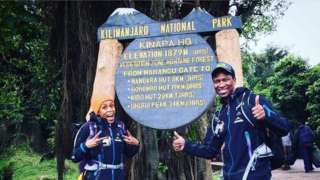 """Image copyright                  Instagram/ Gugu Zulu Image caption                                      Gugu Zulu and his wife Letshego were known as South Africa's """"adventure couple""""                                South African rally driver Gugu Zulu has died while attempting to climb Mount Kilimanjaro in Tanzania.  Mr Zulu was part of 40 South Africans who were part of a Nelson Mandela-linked charity raising funds to buy san"""